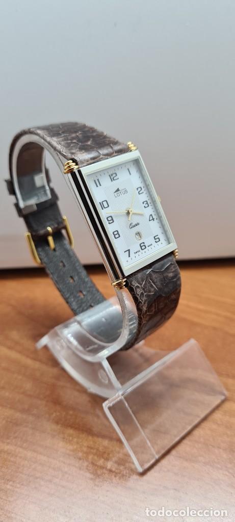 Relojes - Lotus: Reloj unisex cuarzo LOTUS en acero bicolor, esfera blanca, agujas chapadas oro, correa marrón LOTUS - Foto 5 - 255417085