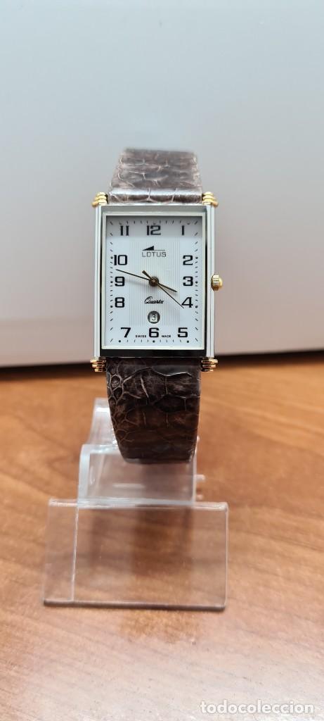 Relojes - Lotus: Reloj unisex cuarzo LOTUS en acero bicolor, esfera blanca, agujas chapadas oro, correa marrón LOTUS - Foto 10 - 255417085