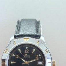Relojes - Lotus: RELOJ (VINTAGE) LOTUS, AUTOMÁTICO ACERO, MAQUINA VISTA, ESFERA NEGRA, CALENDARIO TRES, CORREA CUERO.. Lote 284458978
