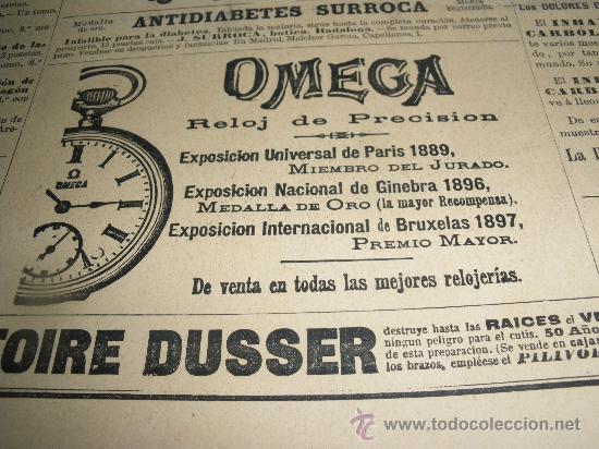 PEQUEÑA PUBLICIDAD DE RELOJES OMEGA. AÑO 1900. (Relojes - Relojes Actuales - Omega)