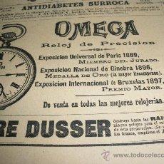 Relojes - Omega: PEQUEÑA PUBLICIDAD DE RELOJES OMEGA. AÑO 1900.. Lote 20843886