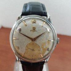 Relojes - Omega: RELOJ CABALLERO (VINTAGE) OMEGA DE CUERDA MANUAL EN ACERO CON CORREA DE CUERO OMEGA NEGRA ORIGINAL. Lote 138612690