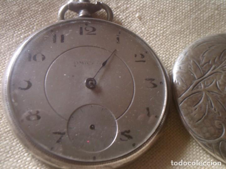 Relojes - Omega: ~~~~ ANTIGUO RELOJ DE BOLSILLO OMEGA DE PLATA LABRADA CON BELLISIMO TRABAJO, NO FUNCIONA. ~~~~ - Foto 5 - 150555210
