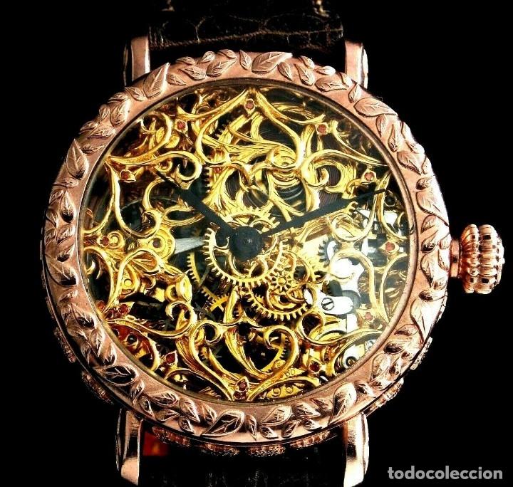 Relojes - Omega: RELOJ OMEGA AÑO 1920. ÚNICO. ORO ROSA. CAJA de .44mm. ESQUELETO. MODIFICADO - Foto 2 - 178827465