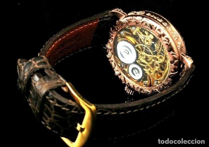 Relojes - Omega: RELOJ OMEGA AÑO 1920. ÚNICO. ORO ROSA. CAJA de .44mm. ESQUELETO. MODIFICADO - Foto 3 - 178827465