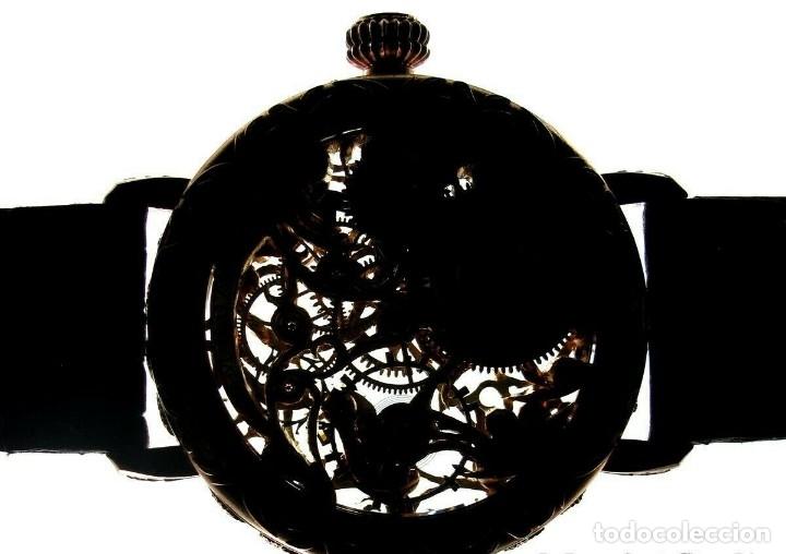 Relojes - Omega: RELOJ OMEGA AÑO 1920. ÚNICO. ORO ROSA. CAJA de .44mm. ESQUELETO. MODIFICADO - Foto 4 - 178827465