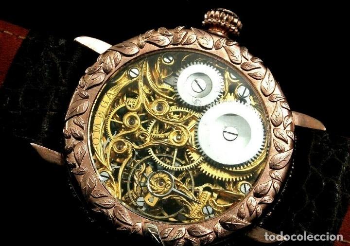 Relojes - Omega: RELOJ OMEGA AÑO 1920. ÚNICO. ORO ROSA. CAJA de .44mm. ESQUELETO. MODIFICADO - Foto 5 - 178827465