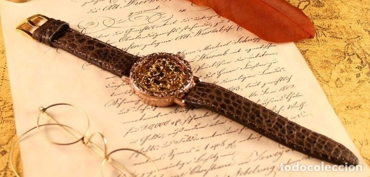 Relojes - Omega: RELOJ OMEGA AÑO 1920. ÚNICO. ORO ROSA. CAJA de .44mm. ESQUELETO. MODIFICADO - Foto 9 - 178827465