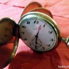 Relojes - Omega: RELOJ DE BOLSILLO SABONETA BAÑO DE ORO, MARCA OMEGA, PPIOS. S. XX Y FUNCIONANDO.TRES TAPAS.55 MM. Lote 186368620