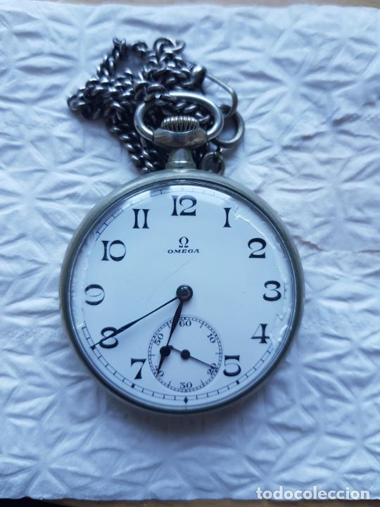 RELOJ BOLSILLO OMEGA MECANICO FUNCIONANDO BOLSILLO TODO FIRMADO Y ORIGINAL CON LEONTINA (Relojes - Relojes Actuales - Omega)