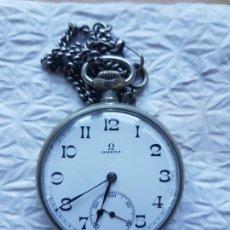 Relojes - Omega: RELOJ BOLSILLO OMEGA MECANICO FUNCIONANDO BOLSILLO TODO FIRMADO Y ORIGINAL CON LEONTINA. Lote 234294095