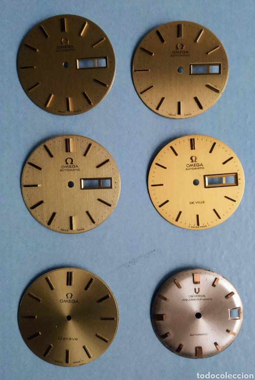 LOTE DE CINCO ESFERAS OMEGA PARA RELOJ DE CABALLERO NUEVAS Y UNA UNIVERSAL GENEVE DE SEGUNDA MANO (Relojes - Relojes Actuales - Omega)