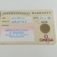 Relógios - Omega: TARJETA DE GARANTÍA INTERNATIONAL WARRANTY PARA RELOJ OMEGA.. Lote 288362138