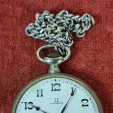 Relojes - Omega: RELOJ DE BOLSILLO OMEGA. CAJA DE METAL PLATEADO. ESFERA ESMALTADA. CIRCA 1950.. Lote 292542083