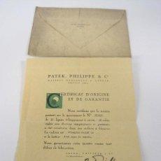 Montres - Patek: CERTIFICADO DE ORIGEN Y GARANTÍA DE RELOJ PATEK, PHILIPPE & Cº, 1947. Lote 36813842