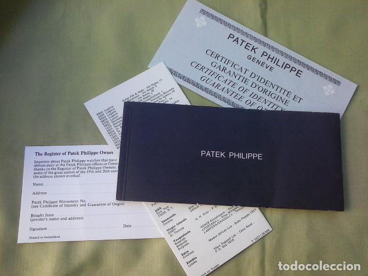 PATEK PHILIPPE. CERTIFICADO DE IDENTIDAD Y GARANTIA + LIBRILLO PROPIETARIO (Relojes - Relojes Actuales - Patek)