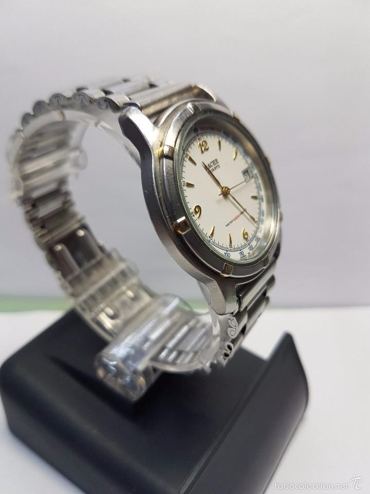 Relojes - Racer: Reloj de caballero (vintage) cuarzo Racer con correa de acero, corona de rosca water 100 metros - Foto 2 - 57817375