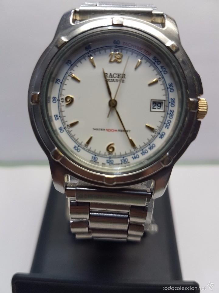 Relojes - Racer: Reloj de caballero (vintage) cuarzo Racer con correa de acero, corona de rosca water 100 metros - Foto 8 - 57817375