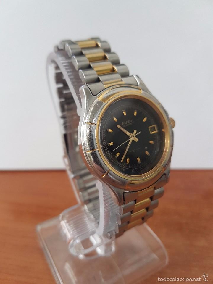 Relojes - Racer: Reloj de caballero Racer de cuarzo en acero, correa original acero, calendario bicolor corona rosca - Foto 2 - 58215619
