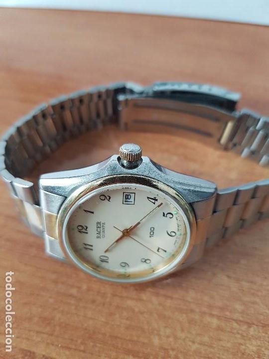 Relojes - Racer: Reloj de caballero (Vintage) Racer cuarzo bicolor 100 D 37201-72 CA correa de acero bicolor corona r - Foto 2 - 68904969