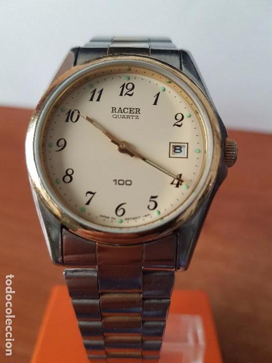 Relojes - Racer: Reloj de caballero (Vintage) Racer cuarzo bicolor 100 D 37201-72 CA correa de acero bicolor corona r - Foto 3 - 68904969