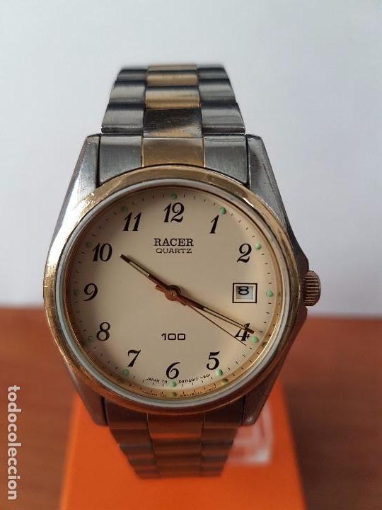 Relojes - Racer: Reloj de caballero (Vintage) Racer cuarzo bicolor 100 D 37201-72 CA correa de acero bicolor corona r - Foto 8 - 68904969