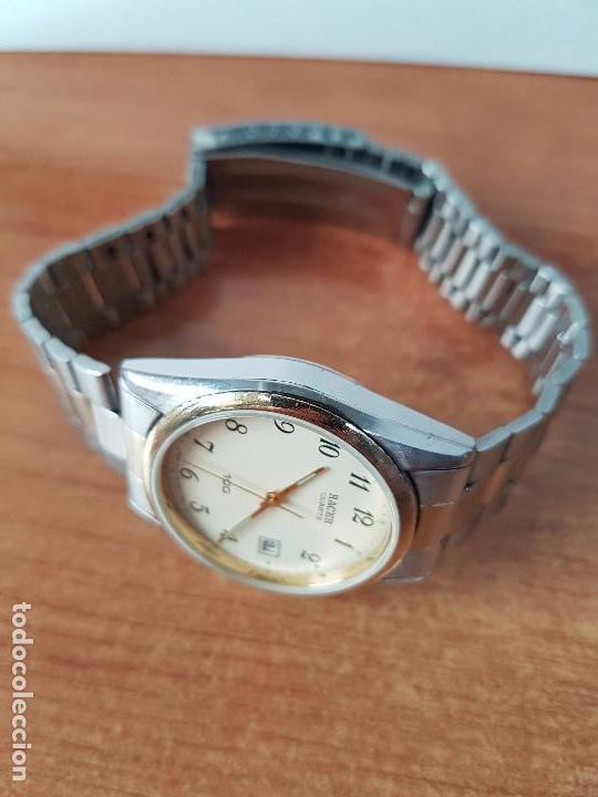 Relojes - Racer: Reloj de caballero (Vintage) Racer cuarzo bicolor 100 D 37201-72 CA correa de acero bicolor corona r - Foto 9 - 68904969