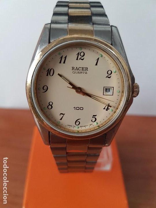 Relojes - Racer: Reloj de caballero (Vintage) Racer cuarzo bicolor 100 D 37201-72 CA correa de acero bicolor corona r - Foto 10 - 68904969