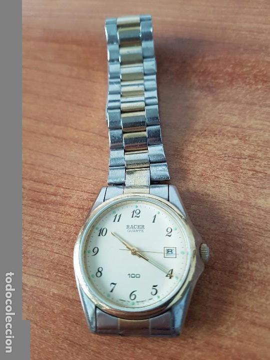 Relojes - Racer: Reloj de caballero (Vintage) Racer cuarzo bicolor 100 D 37201-72 CA correa de acero bicolor corona r - Foto 13 - 68904969
