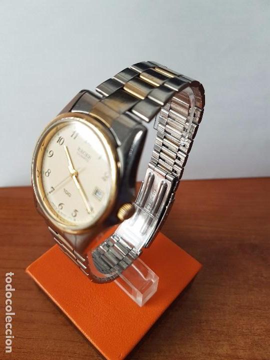 Relojes - Racer: Reloj de caballero (Vintage) Racer cuarzo bicolor 100 D 37201-72 CA correa de acero bicolor corona r - Foto 14 - 68904969