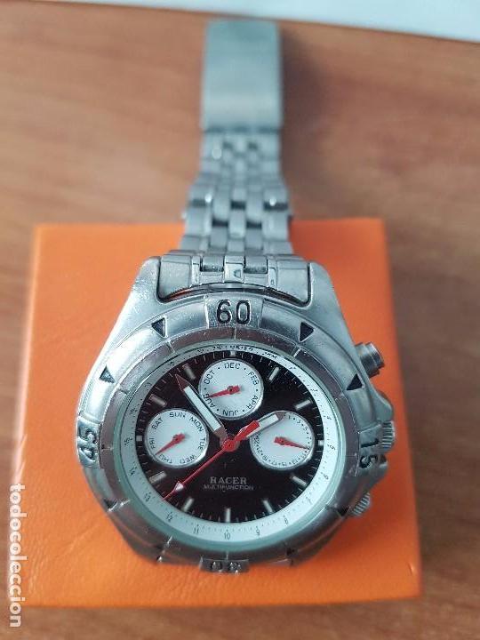 Relojes - Racer: Reloj de caballero RACER cuarzo multifunción de acero, correa de acero original funcionando - Foto 3 - 83636984