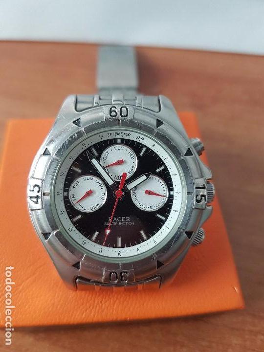 Relojes - Racer: Reloj de caballero RACER cuarzo multifunción de acero, correa de acero original funcionando - Foto 5 - 83636984
