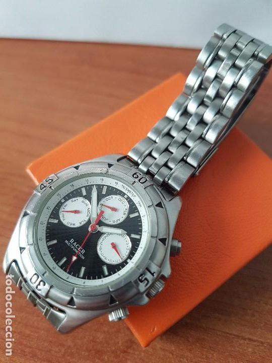 Relojes - Racer: Reloj de caballero RACER cuarzo multifunción de acero, correa de acero original funcionando - Foto 6 - 83636984