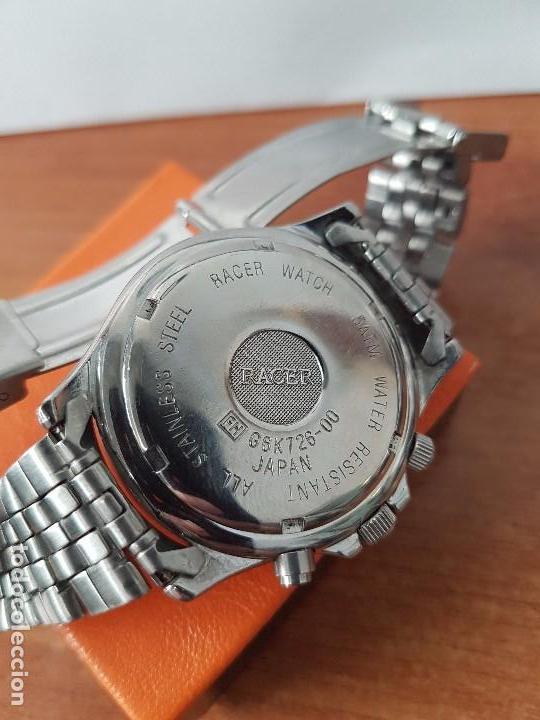 Relojes - Racer: Reloj de caballero RACER cuarzo multifunción de acero, correa de acero original funcionando - Foto 7 - 83636984