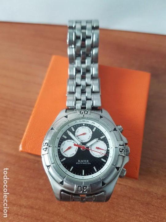 Relojes - Racer: Reloj de caballero RACER cuarzo multifunción de acero, correa de acero original funcionando - Foto 9 - 83636984