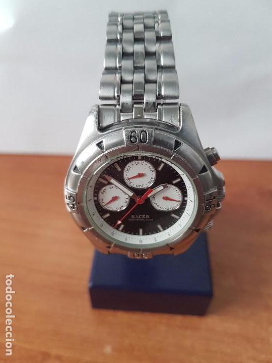 Relojes - Racer: Reloj de caballero RACER cuarzo multifunción de acero, correa de acero original funcionando - Foto 10 - 83636984