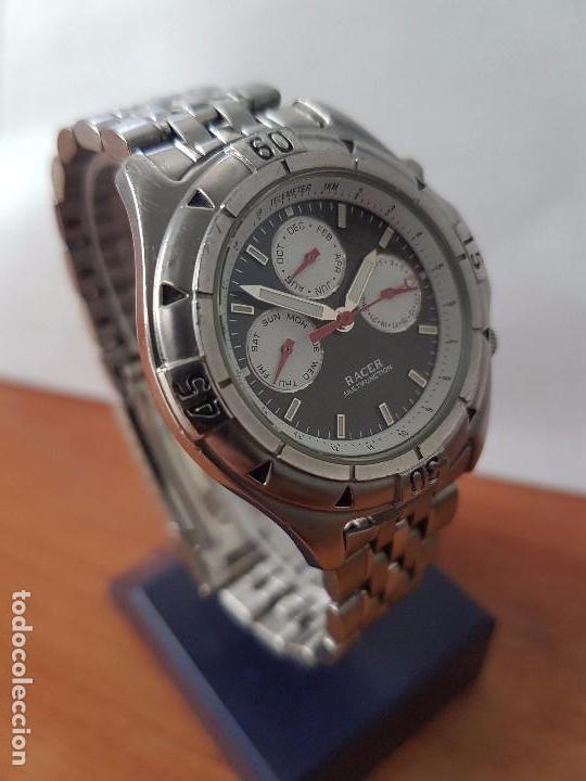 Relojes - Racer: Reloj de caballero RACER cuarzo multifunción de acero, correa de acero original funcionando - Foto 12 - 83636984