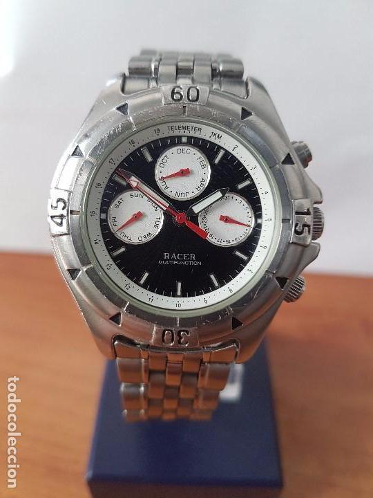 Funcionando Multifunción Original Reloj Acero Cuarzo Caballero Racer De AceroCorrea uZkXPi