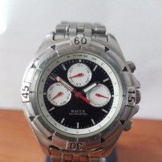 Relojes - Racer: RELOJ DE CABALLERO RACER CUARZO MULTIFUNCIÓN DE ACERO, CORREA DE ACERO ORIGINAL FUNCIONANDO . Lote 83636984