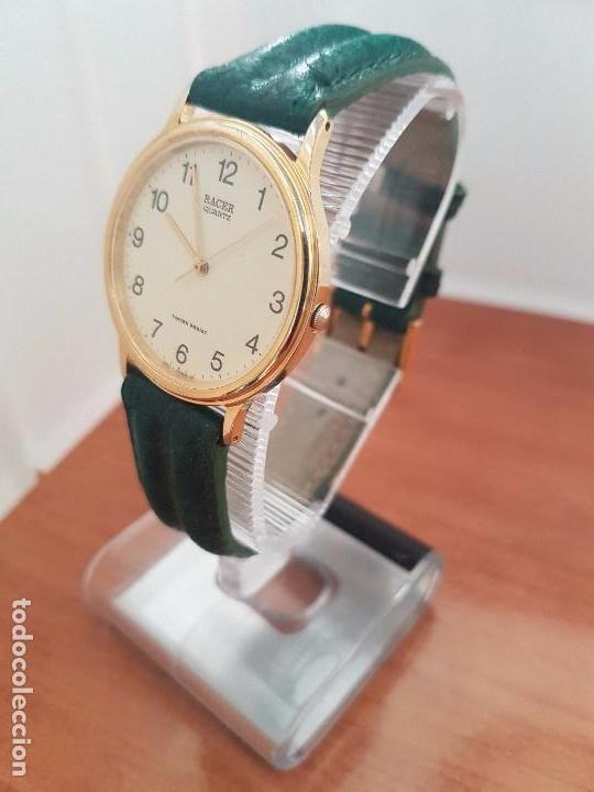 Relojes - Racer: Reloj de caballero RACER de cuarzo chapado de oro con correa de cuero verde segunda mano - Foto 2 - 95742607