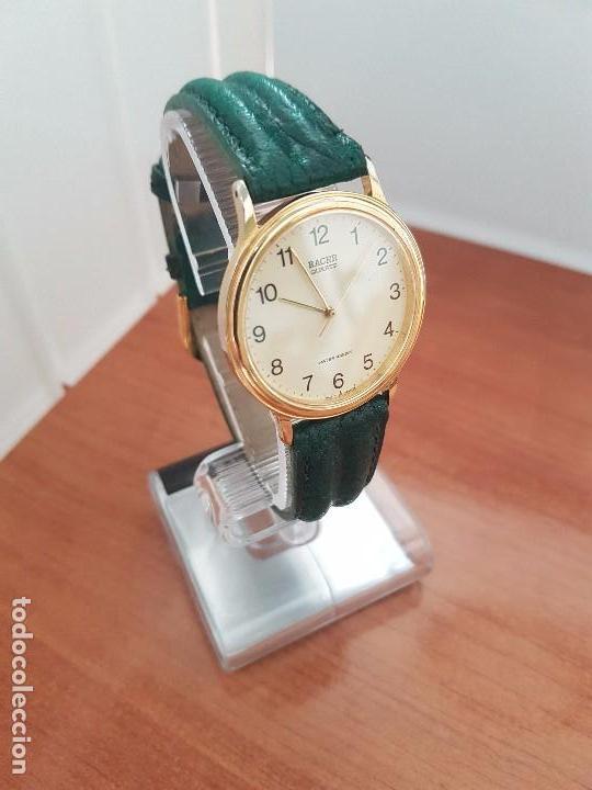 Relojes - Racer: Reloj de caballero RACER de cuarzo chapado de oro con correa de cuero verde segunda mano - Foto 3 - 95742607