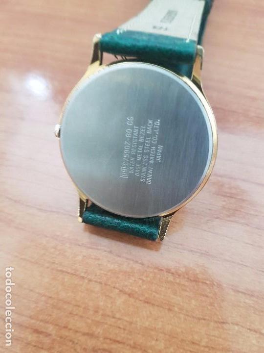 Relojes - Racer: Reloj de caballero RACER de cuarzo chapado de oro con correa de cuero verde segunda mano - Foto 4 - 95742607