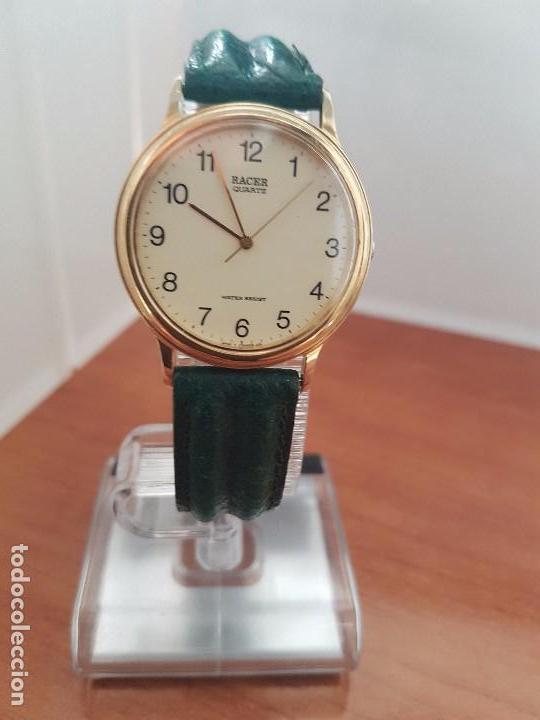 Relojes - Racer: Reloj de caballero RACER de cuarzo chapado de oro con correa de cuero verde segunda mano - Foto 7 - 95742607