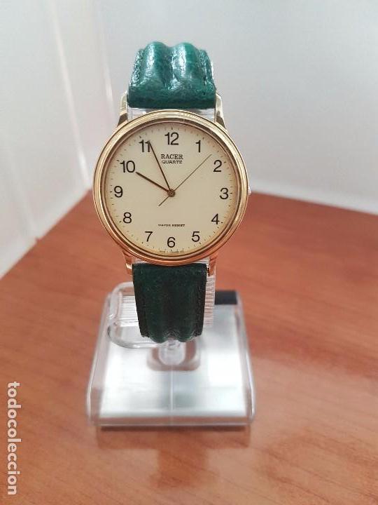 Relojes - Racer: Reloj de caballero RACER de cuarzo chapado de oro con correa de cuero verde segunda mano - Foto 12 - 95742607