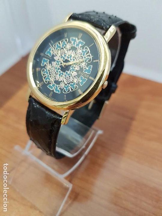 Relojes - Racer: Reloj unisex chapado de oro marca RACER, esfera pintada a mano muy bonita, correa cuero original - Foto 2 - 99214071