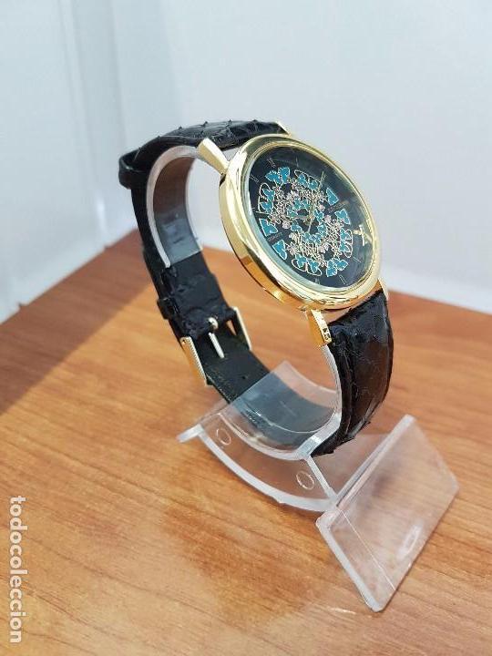 Relojes - Racer: Reloj unisex chapado de oro marca RACER, esfera pintada a mano muy bonita, correa cuero original - Foto 3 - 99214071