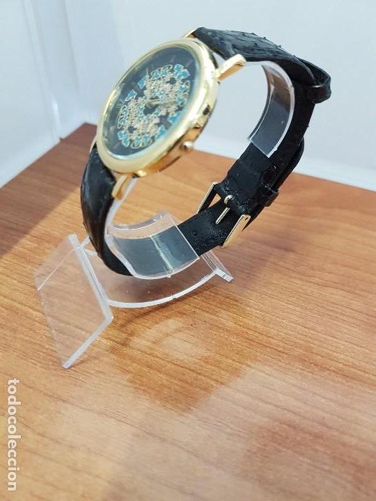 Relojes - Racer: Reloj unisex chapado de oro marca RACER, esfera pintada a mano muy bonita, correa cuero original - Foto 4 - 99214071