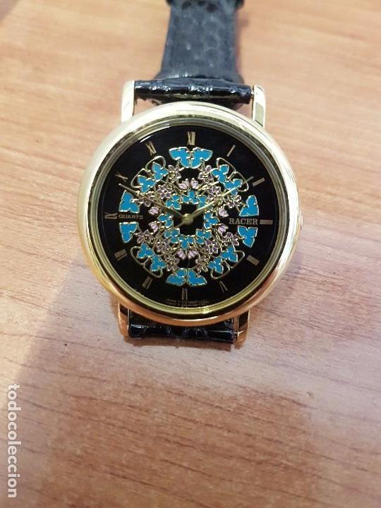 Relojes - Racer: Reloj unisex chapado de oro marca RACER, esfera pintada a mano muy bonita, correa cuero original - Foto 5 - 99214071