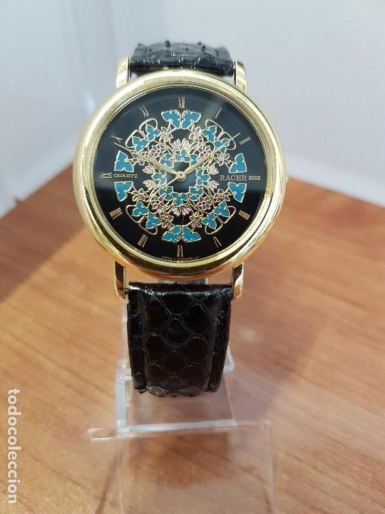 Relojes - Racer: Reloj unisex chapado de oro marca RACER, esfera pintada a mano muy bonita, correa cuero original - Foto 6 - 99214071