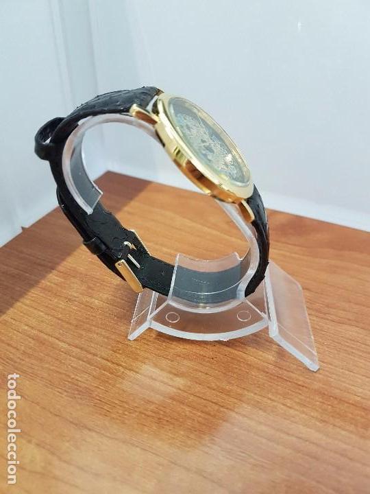 Relojes - Racer: Reloj unisex chapado de oro marca RACER, esfera pintada a mano muy bonita, correa cuero original - Foto 10 - 99214071